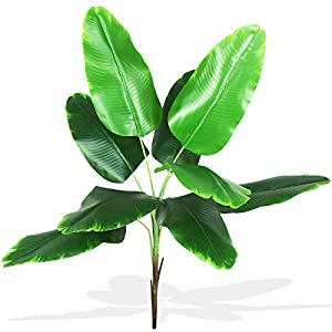 Warmter Artificial Banana Tree Leaves Tropical Plant Faux Leaf Fake Palm Frond Plants Greenery Flowers Silk Bird of Paradise Palm Plant for Indoor Outdoor House Office Modern Decoration