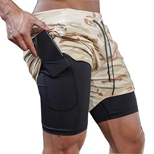 ZAYZ Shorts de Running 2 En 1 para Hombre Entrenamiento Activo Transpirable Ejercicio Trotar Ciclismo Pantalones Ajustados de Malla Ligera (Color : Gray, Size : L)