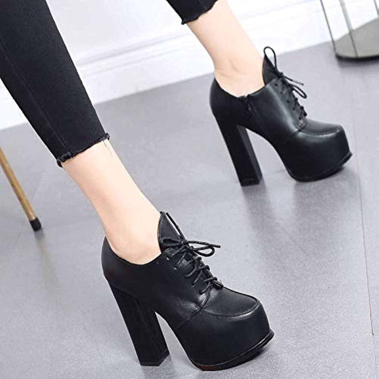 HRCxue Pumps Rote High Heels Heels Heels Mode Wasserdichte Plattform Hochzeit Schuhe Spitze Kurze Stiefel weiblich dick mit Martin Stiefel, 36, schwarz c3a