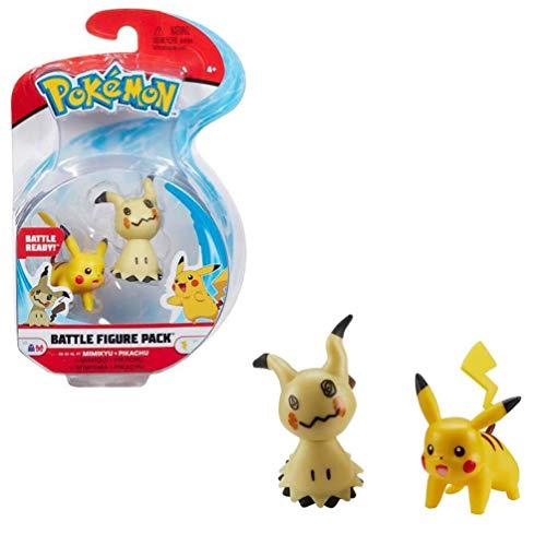Pokémon Battle Figures 2-Pack, Pikachu & Mimikyu, Figuras de 5 cm, con Licencia Oficial de Pokémon