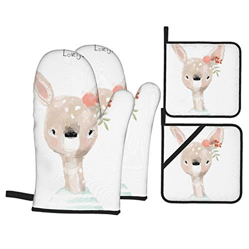 Dfform Oven Mitts and Pot holders 4pcs Set,Little Cartoon Lovely Fawn Floral Wreath Heat Resistant Cooking Gloves for Kitchen,Baking,Grilling
