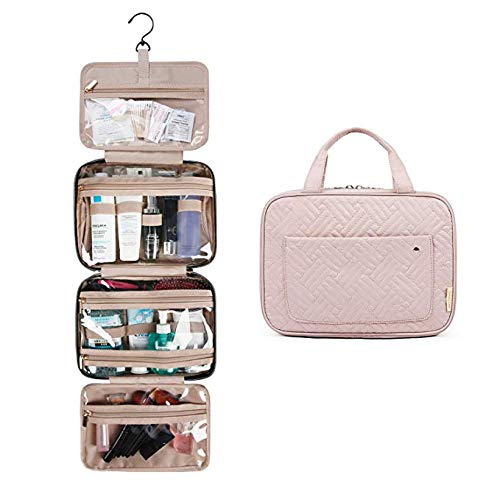 BAGSMART Hanging Toiletry Bag Travel Large Wash Bag Womens Cosmetic Bag Clear for Full Sized Container Pink