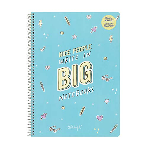 Mr. Wonderful Notebook-Nice People Write in Big notebooks, Multicolor, Talla única