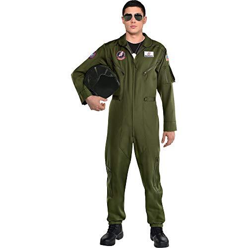 Maverick Top Gun Flight Suit Jumpsuit Costume for Men, Standard or Plus Size