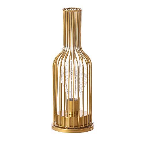 Lámpara de mesa de metal para botella de vino, estilo vintage, con alambre de metal, lámpara de lectura, funciona con pilas, para dormitorio, sala de estar (dorado, botella de vino)