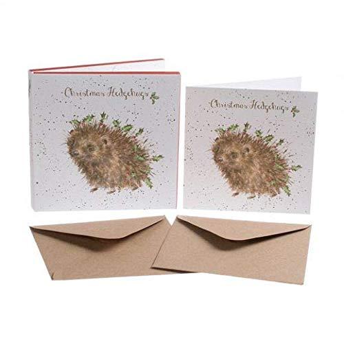 Luxus Artistic Weihnachten Karten (wre1144)–Weihnachten hedgehugs–Igel–Box von 8Karten–Wrendale Designs–Folie Finish