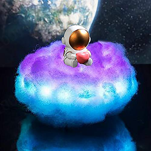 MOXIAONAI Lámpara de Astronauta con Nubes de Colores LED con Efecto arcoíris, lámpara LED de Astronauta Espacial, luz Nocturna, Efecto arcoíris 3D en Nube, luz Nocturna para niños (B)