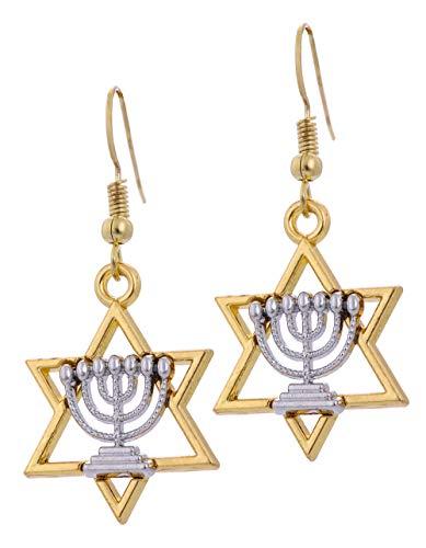 Jewish Hanukkah Israel Star of David Candlestick Menorah Drop Earrings for Women