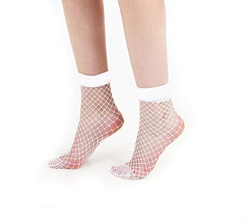 Schompi Damen Netz-Socken - Large Net Ankle Socks Netzsöckchen Schwarz, Pink, Weiß, Farbe:Weiß, Größe:Einheitsgröße