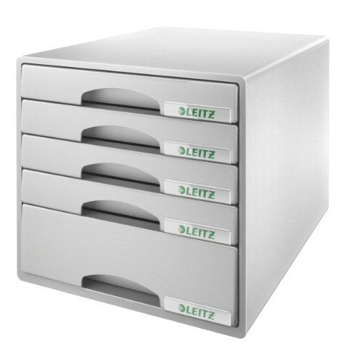 Leitz Plus 52110085 - Buc de cajones, A4, 5 cajones, Gris, Plástico