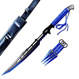 Otakumod 27' Tactical Machete With 6' 3 Fixed Blade Knives Set. 440 Stainless Steel Blade. For Collection, Gift, Outdoor Camping Cut Branches And Ropes (Blue)