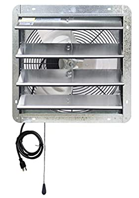"""Iliving - 16"""" Wall Mounted Exhaust Fan - Automatic Shutter - Variable Speed - Vent Fan for Home Attic, Shed, or Garage Ventilation"""
