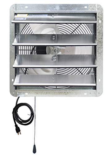 Iliving 16' Wall Mounted Exhaust Thermostat Control-Automatic Shutter-Variable Speed Vent Fan for Home Attic, Shed, or Garage Ventilation, 1200 CFM, 1800 SQF Coverage Area, Silver