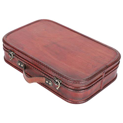 02 Retro Hand Luggage, Retro Suitcase, Antique Wooden Case Faux Leather Large Capacity for Home Decoration Man Photo Studio Woman