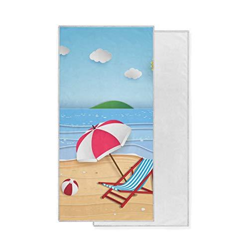 Bath Gant de Toilette Polyvalent hautement Absorbant Portable Ultra Doux Serviette à Main Ocean Beach Happy Time