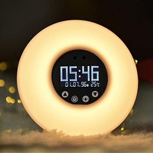 Reloj despertador de luz Sunrise / Sunset Simulación lámpara de cabecera con radio FM 8 Naturaleza sonidos con luz regulable de control remoto táctil for control de la puesta del sol de noche Noche (C