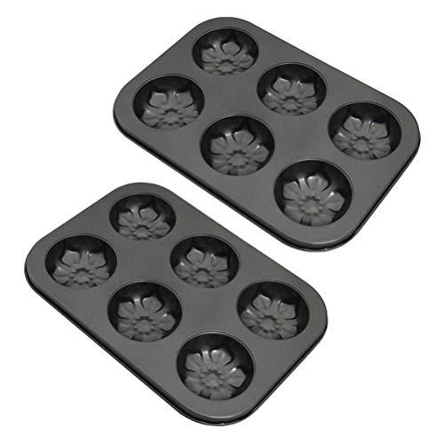 Opplei koolstofstaal 6 zelfs cakevorm antiaanbaklaag bakplaat voor muffins, koolstofstaal, vorm om te bakken, geschikt voor elke gangbare oven