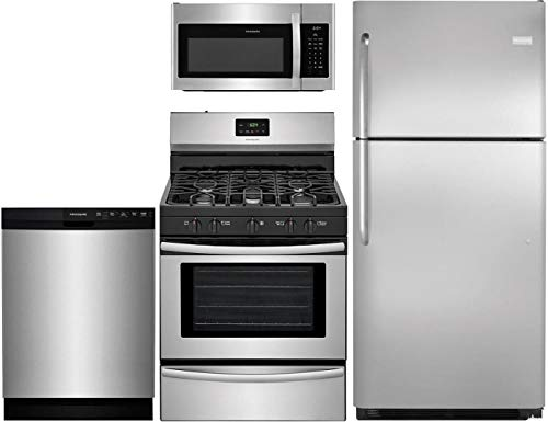 Frigidaire 4-Piece Kitchen Package with FFTR2021QS 30' fridge, FFGF3052TS 30' Gas Range, FFMV1645TS 30' Over the Range Microwave and FFBD2412SS 24' Built In Full Console Dishwasher in Stainless Steel