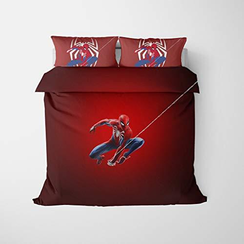 Marvel Heroes Juego de cama de Spiderman con diseño de dibujos animados, funda de edredón 100% microfibra suave, funda de edredón para niños y niñas, cama individual, doble y king size (A,220 x 240)