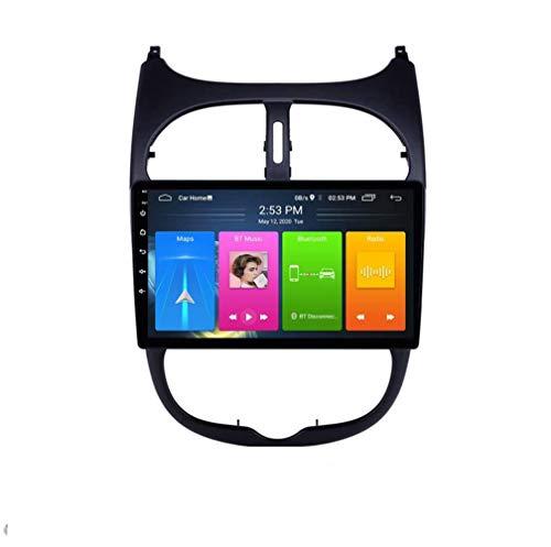 QBWZ Car Stereo Android 9.0 Radio para Peugeot 206 2000-2016 Navegación GPS 9 Pulgadas HD Pantalla táctil Unidad Principal Reproductor Multimedia MP5 Video con 4G WiFi DSP SWC