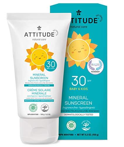 ATTITUDE duftfreie mineralische Sonnencreme für Babys & Kinder LSF 30 (1 x 150 g)