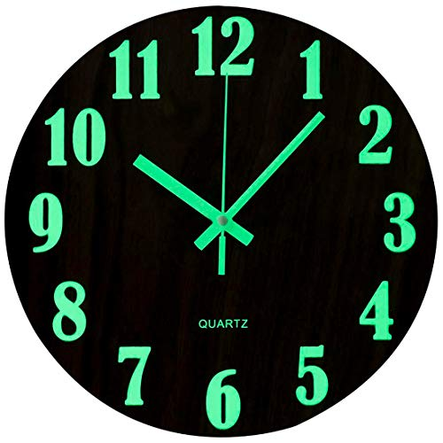 Topkey - Reloj de pared redondo y luminoso, de 30,4 cm, con diseño de madera silencioso, luces nocturnas, ideal para sala de estar y dormitorio (pila no incluida), color marrón