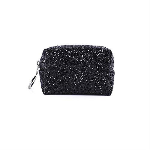 Comestic Trousse De Maquillage Multifonction De Voyage Utilisez Zipper Bag Mode Femmes Pink Sequins Portable Starry noir