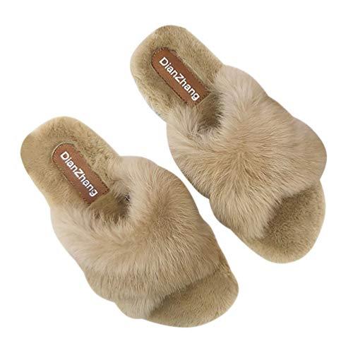 Holibanna Kunstpelz Pantoffel überqueren offene Zehen Flusen Pantoffeln Winter Plüschschuhe für Damen Mädchen