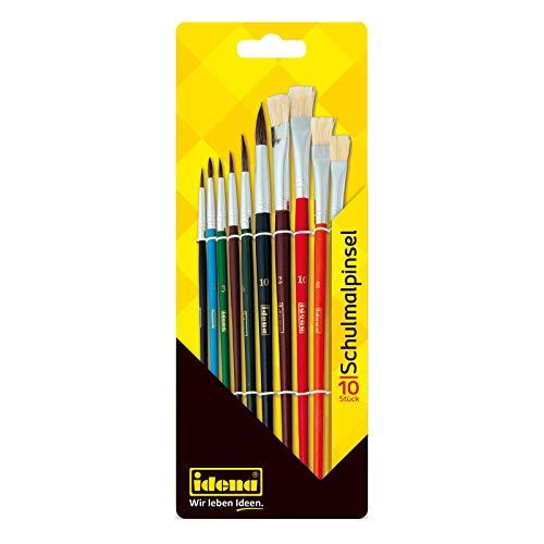 Idena 60103 - Schulpinsel Set, 10er Set mit 6 Rundpinsel & 4 Borstenpinsel, lackiert