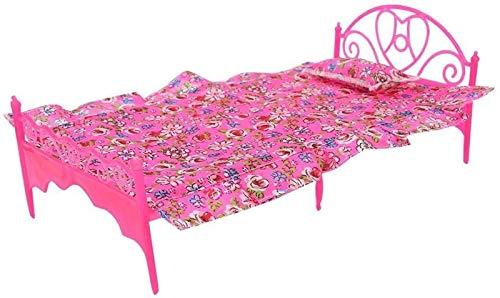 Mini Estilo de muñeca clásica de Estilo, Color Rosa Color Rosa, Cama de plástico de Cama Individual, Juguete en Miniatura con Almohada y sábana para casa de muñecas