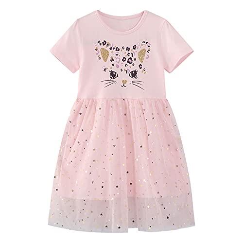 FILOWA Vestidos para Niña Rosa Lentejuelas Bordado Gato Estampados Algodon Tul Verano Manga Corta Princesa Modernos Elegantes Casual Vestido Chica 5-6 Años, 6T