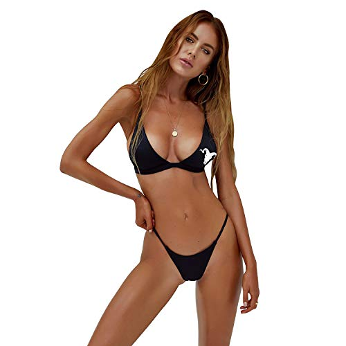 LASYLY Dan Bilzerian Women's Sexy Halter Thong Bikin Tie Side Bottom Triangle Bikini Swimsuits L Black