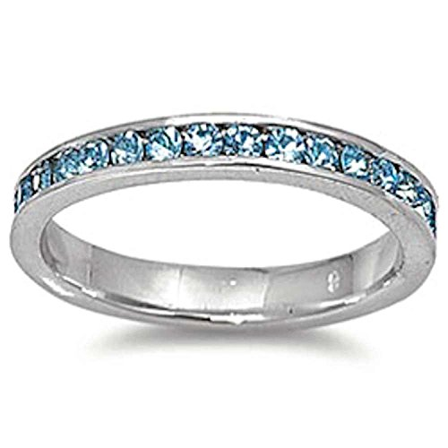 Blue Apple Co. 3mm Channel Set Full Eternity Wedding Band Ring Round Simulated Aquamarine 925 Sterling Silver, Size - 7