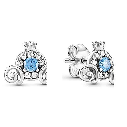 LILANG Pandora 925 Jewelry Bracelet Plata de Ley auténtica Natural DIS Cinderel Pumpkin Europe Stud Pendientes para Abalorios de Moda Adecuado para Mujeres Regalo de Bricolaje