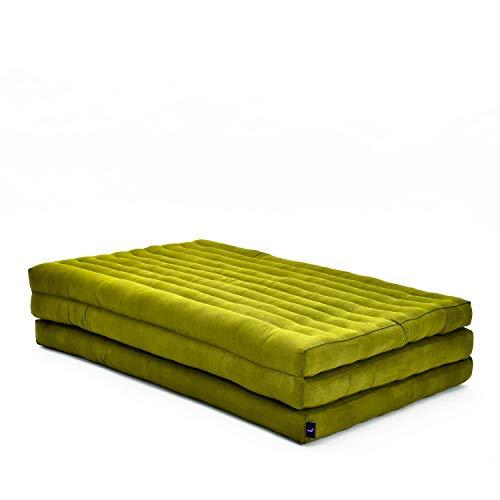 Leewadee futón Plegable XL – Colchoneta Grande para Doblar de kapok ecológico, colchón para Invitados, futón Hecho a Mano, 200 x 105 cm, Verde