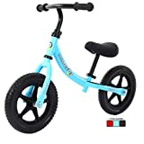 """12"""" Sports Balance Bike for Boys Girls 2 3 4 5 6 Years Old Lightweight No Pedal Walking Balance Training Sports Bicycle for Kids Toddlers (Blue)"""