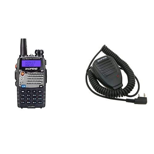 BaoFeng Uv-5Ra - Radio Walkie Talkie, Color Negro+ Uv-5R Speaker - Micrófono para Walkie Talkie Uv-5R, Color Negro