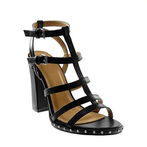 Angkorly - Damen Schuhe Sandalen Pumpe - knöchelriemen - Römersandalen - Multi-Zaum - Nieten - besetzt Blockabsatz high Heel 11 cm - Schwarz 88-251 T 37