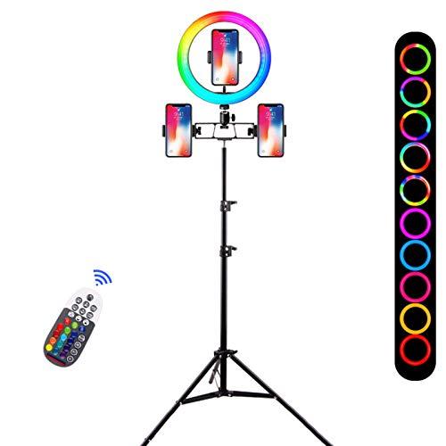 QLIGHA 10 Pouces RGB Ring Light Trépied LED Ring Light avec 3 Clip de téléphone Selfie Ring Light avec 160cm Stand RGB 18 Couleurs Video Light pour Youtube TIK Tok