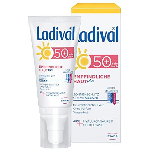 Ladival Empfindliche Haut Plus Sonnenschutz Creme für das Gesicht LSF 50+ - Parfümfreie Sonnencreme ohne Farb- und Konservierungsstoffe - wasserfest, 50 ml