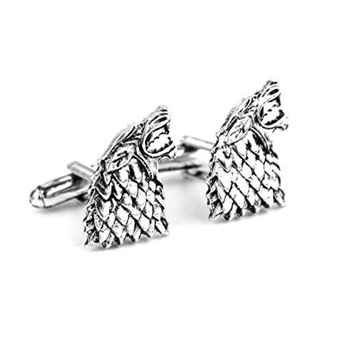 Paire de boutons de manchette motif loup-garou avec sceau de la Maison Stark de Westeros dans Game Of Thrones