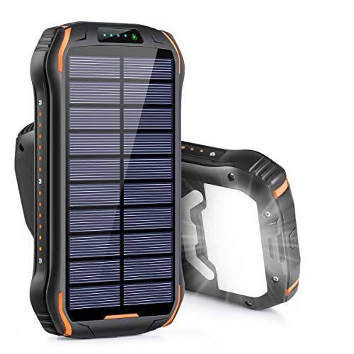 Xiyihoo Solar Charger 26800mAh, Solar Power Bank Portable Solar Panel Charger with 18 LEDs...