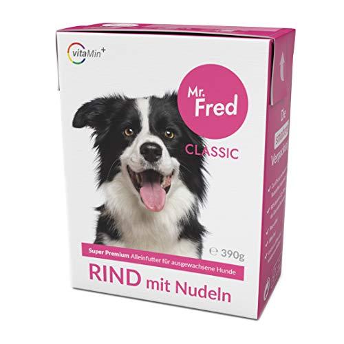 Mr. Fred- Hundefutter nass | Super Premium Nassfutter für Hunde | 10 x 390g | Lebensmittelqualität | Rind mit Nudeln | wiederverschließbar
