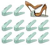 SulyCreations Set de 10pcs Organizadores de Zapatos, Soporte de Calzado de Altura Ajustable, Zapatero Simple, Adecuada para Mujeres y Hombres, Ahorra Espacio (Tiffany Color)