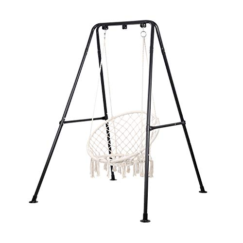 Taleco Gear Swing Stand, Heavy Duty Steel Hammock Chair Stand,Hanging Chair with Stand for Outdoor and Indoor, Swing Chair for Adults, Portable Hanging Chair with Stand (Black)