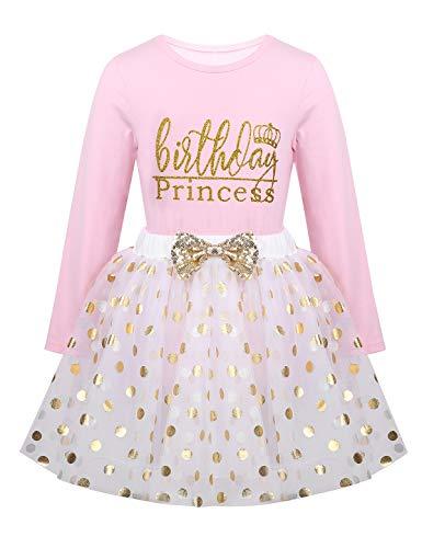 TiaoBug Baby Mädchen Kleidung Set Babyshirt Ärmellos Top + Tutu Rock Polka Dots Prinzessin festlich Kleid Kleinkind Kostüm Geburtstag Outfit Gr. 80-116 Pink Langarm 98-104/3-4 Jahre