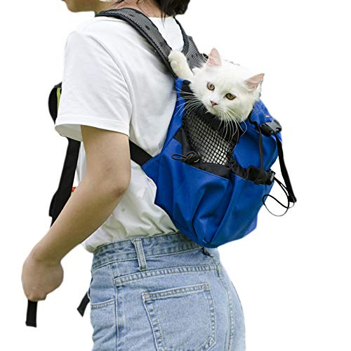 QWET Mochila para Mascotas, Lavable, Transpirable, Nido para Mascotas Ajustable, Adecuada para Perros Y Gatos Medianos Y Grandes,Azul,XL