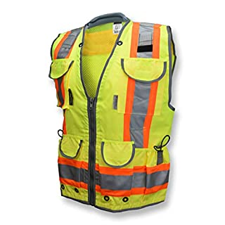 Radians SV55 Class 2 Heavy Woven Two Tone Engineer Vest with Padded Neck to Support Extra Weight in Cargo Pockets, Hi Viz Green or Hi Viz Orange (B087XRSRNG)   Amazon price tracker / tracking, Amazon price history charts, Amazon price watches, Amazon price drop alerts