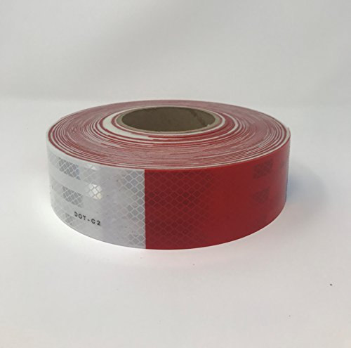 "Safe Way Traction 2' x 150' Roll 3M 983 Series Diamond Grade Conspicuity Trailer DOT-C2 Reflective Safety Tape Red & White 6""/ 6"" Pattern"