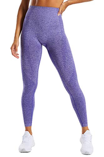 Pau1Hami1ton Talle Alto Sin Costura Leggins para Mujer Gimnasio Capri Mallas Pantalones de Yoga Niñas Fitness Leggings Deportivos GP-13(Purple,L)